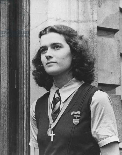 Elisabeth de Gaulle (b.1924) boarder at Acton Burnell, Notre Dame de Sion, England, 1941 (b/w photo)