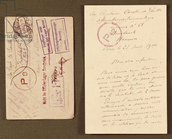 Letter of three pages written by Henri de Gaulle (1848-1932) to his son Captain Charles de Gaulle (1890-1970) in captivity in Germany, 23rd April 1916 (ink on paper) (see also 279735)