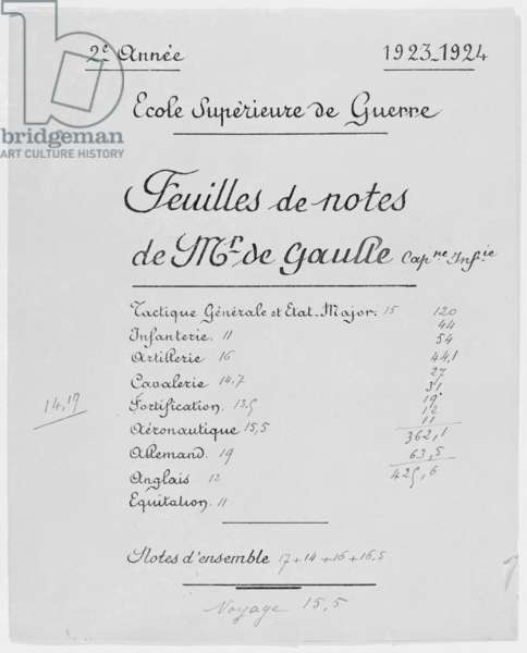 School report of Infantry Captain Charles de Gaulle at the Higher School of War, Second School Year 1923-24, 1924 (pen & ink on paper) (photo)