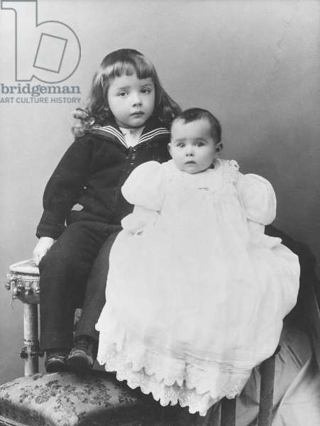 Jacques Vendroux, aged 3, and Yvonne Vendroux, aged 1, mid 1901 (b/w photo)