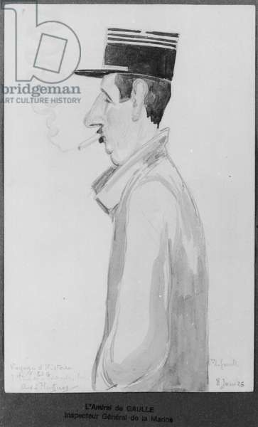 Caricature of Captain Charles de Gaulle (1890-1970) at the Higher School of War, 8th June 1926 (w/c on paper) (b/w photo)