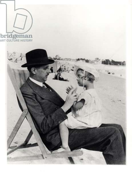 Anne de Gaulle (1928-48) and her father on the beach at Benodet, Finistere, c.1933 (b/w photo)