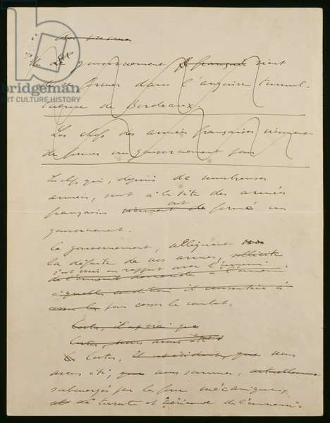Original manuscript of the 18th June 1940 address of General de Gaulle, 1rst page recto, 1940 (ink on paper)