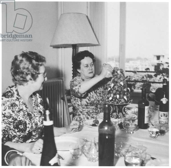 Yvonne de Gaulle (1900-79) and Madame de Montalembert at a First Communion lunch at Philippe de Gaulle's house, 1960 (b/w photo)