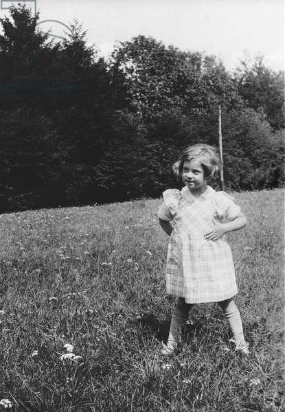 Anne de Gaulle at Colombey-les-deux Eglises, Summer 1934-35 (b/w photo)