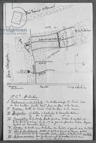 Map of the French trenches in Champagne occupied by the company of Captain de Gaulle, 1915 (pencil on paper) (b/w photo)