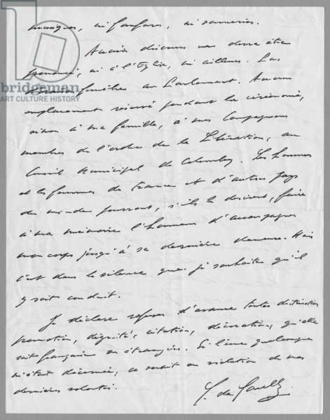 Letter written by General Charles de Gaulle, listing his wishes for his funeral, 16th January 1952 (verso) (see also 345878) (ink on paper)