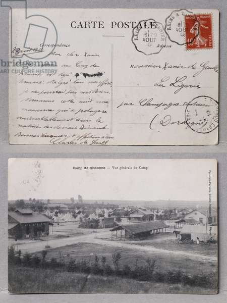 Postcard sent by Charles de Gaulle to his brother Xavier de Gaulle from the camp of Sissonne, August 1910 (ink on paper & b/w photo)