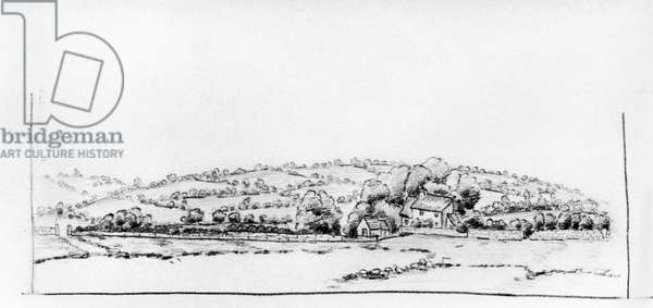 Sketch of a landscape with a house, done at Saint-Cyr, 1912 (pencil on paper) (b/w photo)