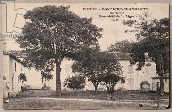 Postcard depicting 'La Ligerie', property of Henri de Gaulle, surroundings of Fontaine-Champagne, Dordogne, c.1910 (photolitho)
