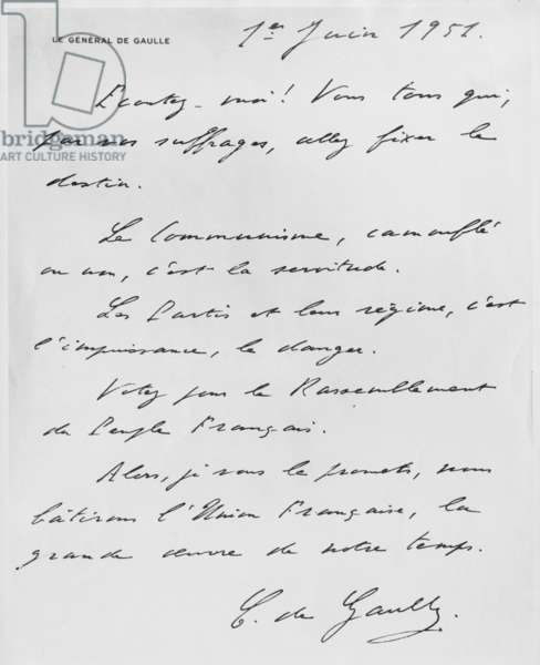 Propaganda letter written by General Charles de Gaulle for his political party RPF during legislative elections, 1st June 1951 (ink on paper)