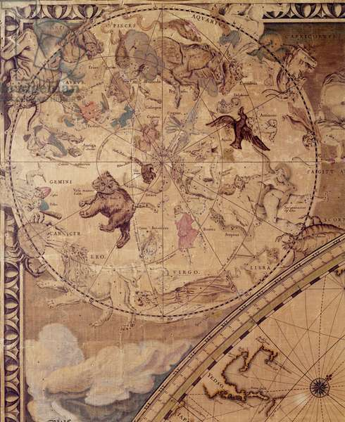 Top left section of 'Nova Totius Terrarum Orbis Tabula' (World Map) showing Astrological Signs of the Zodiac, c.1655-58 (coloured engraving) (see also 252420)