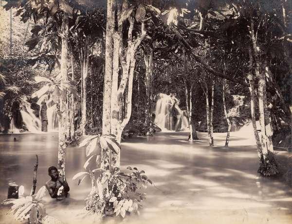 Elfin Grotto, Roaring River, St. Ann, Jamaica, 1891 (b/w photo)