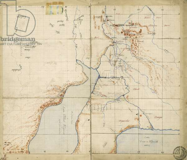 Map of Sir Samuel Baker's route from Gondokoro to Lake Albert, 1864 (pen & ink on paper)