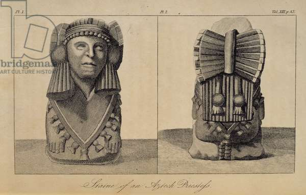 T.1596 Statue of an Aztec Priestess, front and back view, from Vol I of 'Researches concerning the Institutions and Monuments of the Ancient Inhabitants of America with Descriptions and views of some of the most Striking Scenes in the Cordilleras', pub. 1814 (lithograph)