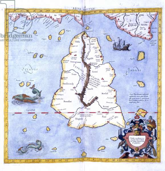 The Island of Taprobane, from Mercator's edition of Ptolemy's 'Geography' entitled 'Universalis tabula iuxta Ptolemeum', 1578 (colour litho)