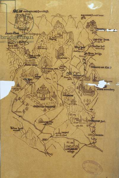 Tracing of a Tibetan picture map of the Mount Everest Range, 1898