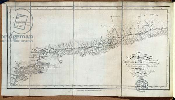T.1608 Map of the course of the Oroonoko from the Mouth of the Rio Sinaruco to Angostura, from Vol III of 'Personal Narrative of Travels to the Equinoctial Regions of the New Continent during the years 1799-1804' by Friedrich Baron von Humboldt (1769-1859) pub. 1818 (print)