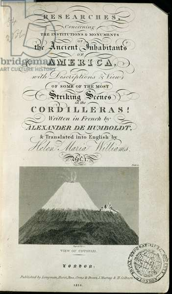T.1595 View of Cotopaxi, frontispiece of 'Researches concerning the Institutions and Monuments of the Ancient Inhabitants of America with Descriptions and views of some of the most Striking Scenes in the Cordilleras', pub. 1814 (print)