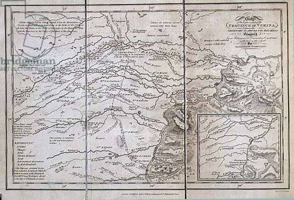 T.1606 Map of the Eastern part of the Province of Verina between the Oronooko, the Abura and the Rio Meta, from Vol II of 'Personal Narrative of Travels to the Equinoctial Regions of the New Continent during the years 1799-1804', pub. 1818 (print)