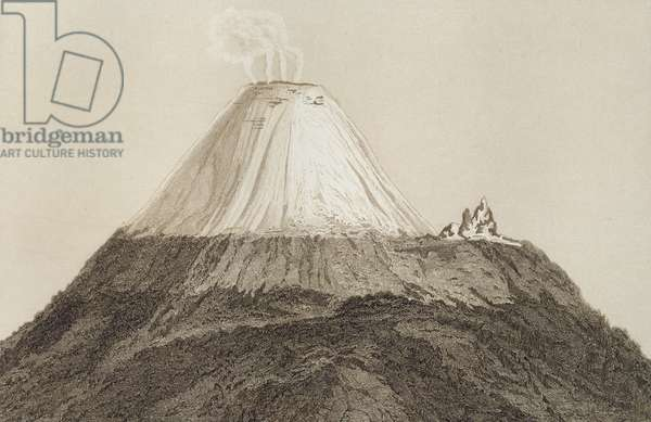 T.1594 Cotopaxi, drawn by Stock from a sketch by Humboldt, engraved by Edmond Lebel (1834-1908) from 'Volcanos of the Cordilleras of Equador and Mexico' pub. 1864 (lithograph)