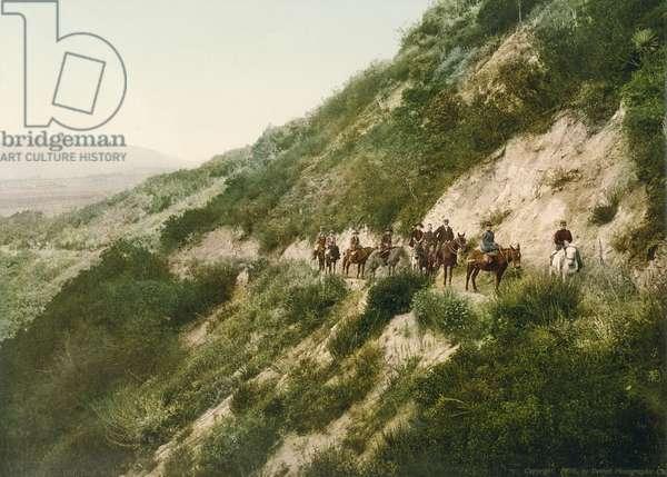 Old trail to Mount Wilson, Pasadena, California, 1900 (colour litho)