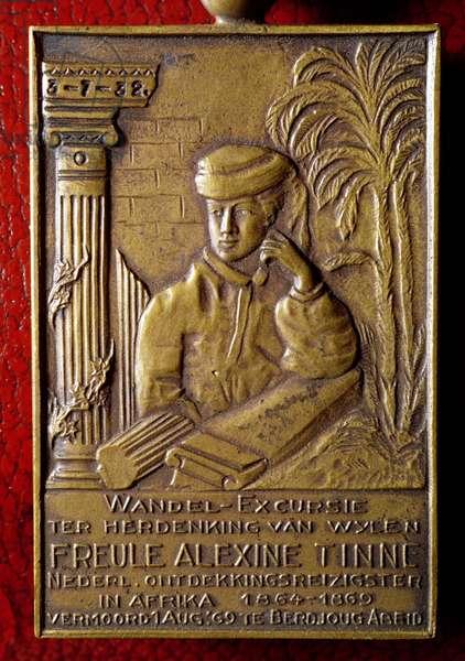 Plaque commemorating Alexandrine or Alexine Tinne, a Dutch explorer murdered in Africa in 1869, 1932 (bronze)