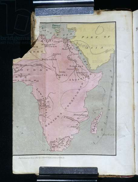 Map of Africa showing in pink the 'regions unexplored', 1883 (coloured engraving)