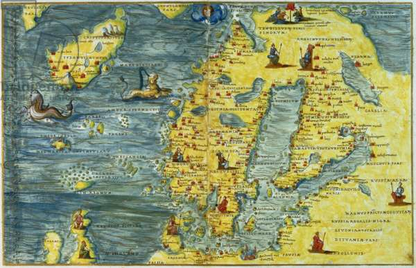 T685 Scandinavia and Iceland, from the Portolan Atlas of the World, by Battista Agnese of Venice, c.1540