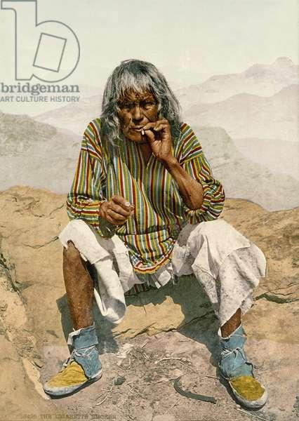 A Hopi indian, 1900 (hand-coloured photo)