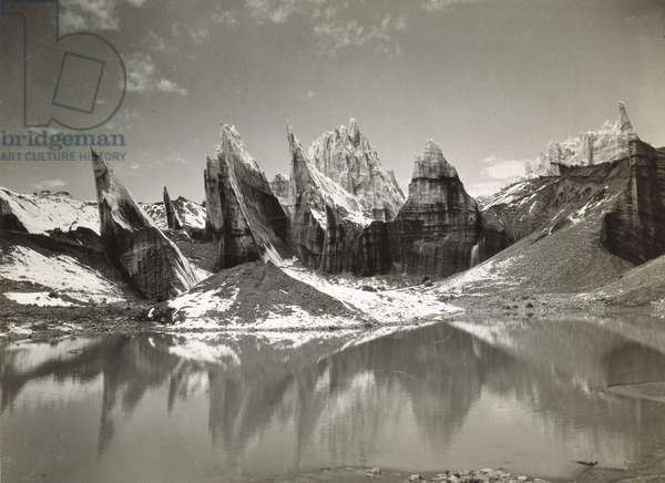 Ice-Needles and Pyramids of the Lower Remo Glacier, Kashmir, 1st January 1915 (b/w photo)