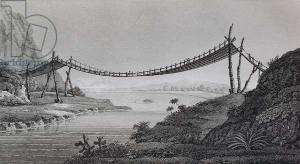 T.1603 Bridge of Ropes, near Penipe, from Vol II of 'Researches concerning the Institutions and Monuments of the Ancient Inhabitants of America with Descriptions and views of some of the most Striking Scenes in the Cordilleras' pub. 1814 (lithograph)
