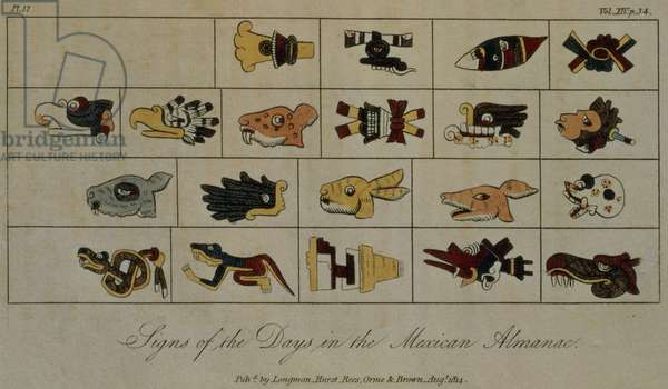 T.1602 Signs of the Days in the Mexican Almanac, from Vol II of 'Researches concerning the Institutions and Monuments of the Ancient Inhabitants of America with Descriptions and Views of some of the most Striking Scenes in the Cordilleras', pub. 1814 (print)