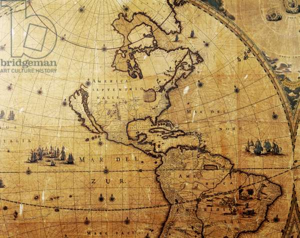 Section of 'Nova Totius Terrarum Orbis Tabula' (World Map) showing North America, including Califonia as an Island, c.1655-58 (engraving)