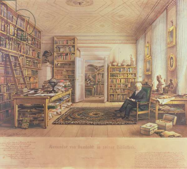 Baron von Humboldt (1769-1859) in his Library (colour litho)