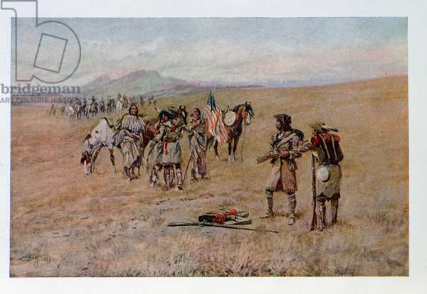 Captain Meriwether Lewis with Drewyer and Shield Meeting the Sho-Shone Indians, August 13, 1805, illustration from 'The Trial of Lewis and Clark', engraved by the artist, pub. c.1904 (colour litho)
