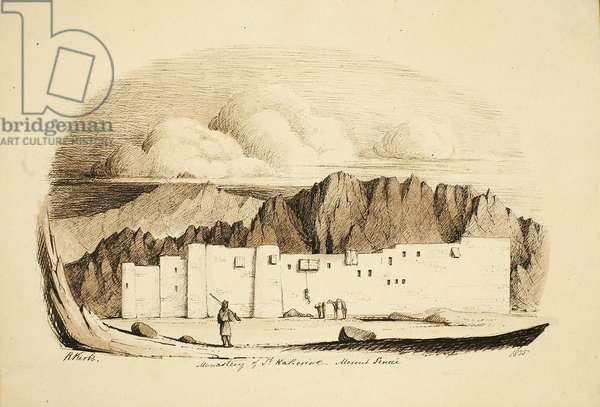 Monastery of St Katherina, Mount Sinai, 1835 (ink on paper)
