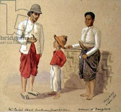 T1222 Lao, the head boatman, with his son and a woman of Bangkok, 1895 (w/c)