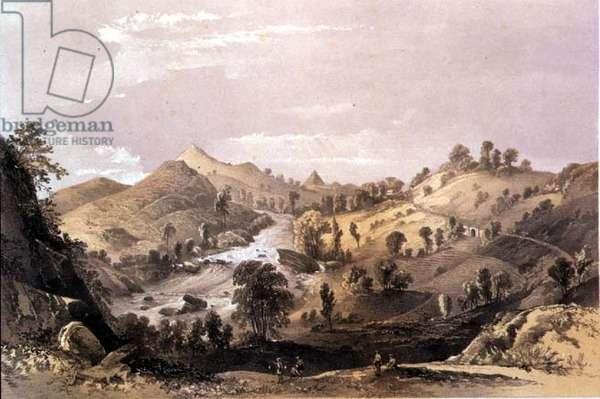 T1233 Adam's Peak from the Ambogammoa Road at Pushbage, Ceylon, 1864 (litho)
