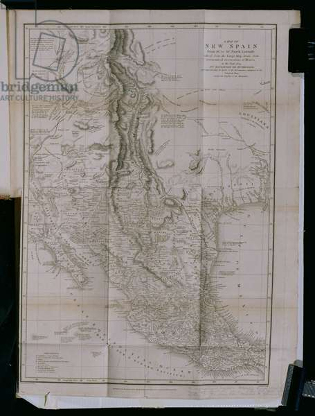 T.1600 Map of 'New Spain' in 1804 from 'Plates to Alexander de Humboldt's Political Essay on the Kingdom of New Spain',pub. 1810 (print)