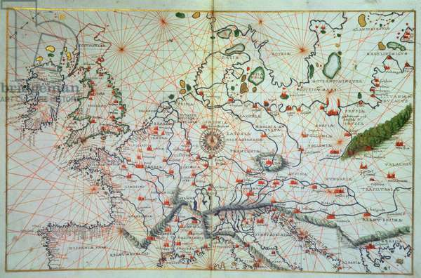 Europe, from a Portolan Atlas of the World (c.1553) by Battista Agnese of Venice (fl.1536- 64)