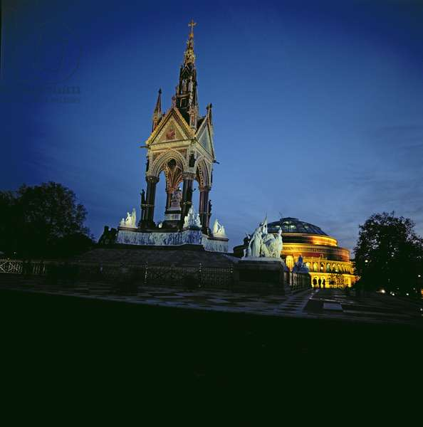 Albert Memorial with Royal Albert Hall in the Background (photo)