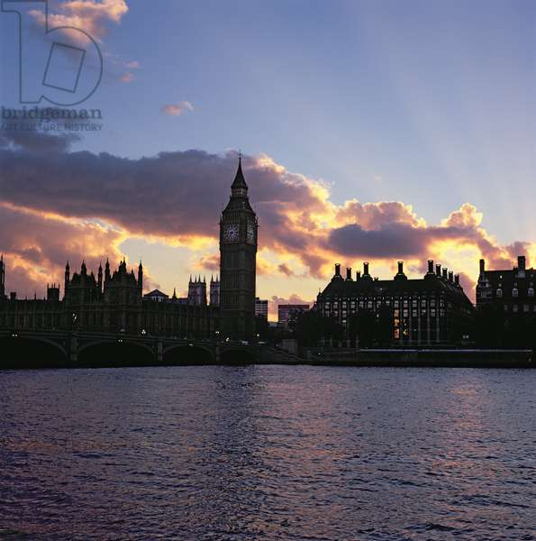 View of Westminster, from the South Bank of the Thames, featuring Big Ben (photo)