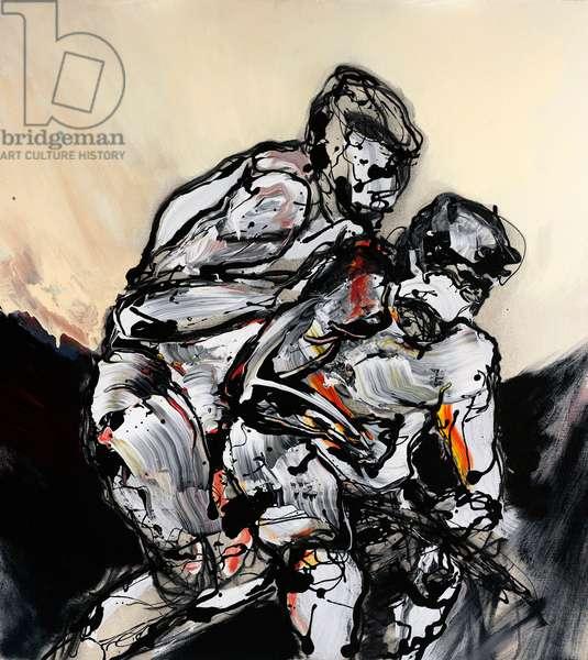 Wrestlers, 2007 (oil & acrylic on canvas)