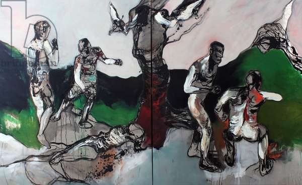 From Pillar To Post (Diptych), 2011 (oil & acrylic on linen)