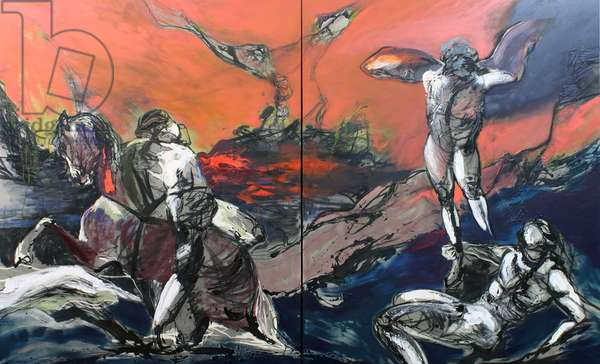 Against The Tide (after Theodore Gericault) (Diptych), 2011 (oil & acrylic on linen)