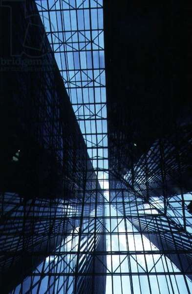 View looking up through the atrium roof to the twin towers in the Pennzoil Building, designed by Philip Johnson (photo)