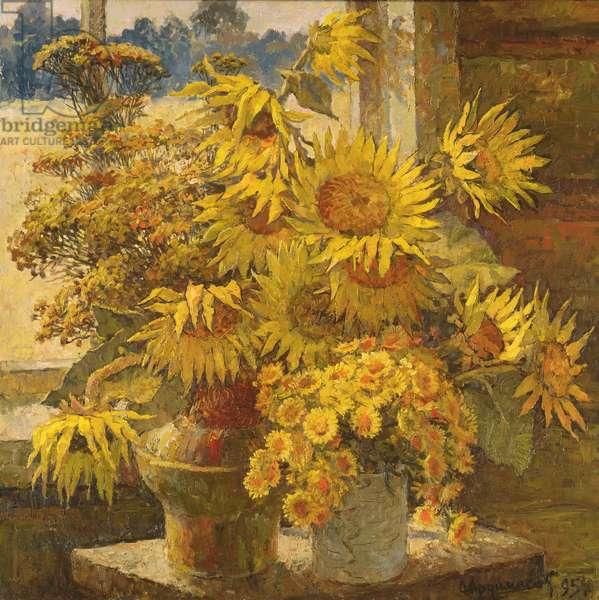 Sunflowers, 1995 (oil on canvas)