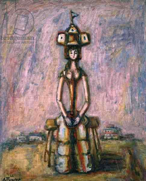 Lady of Fashion Sitting on a Bench, 1966 (oil on canvas)