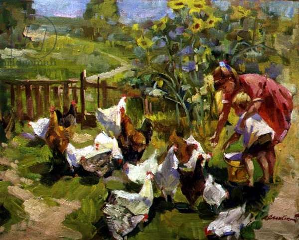 Feeding the Chickens, 1995 (oil on canvas)